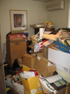 office before, cluttered office, clear the clutter