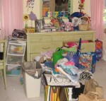 cluttered child's bedroom, messy bedroom, clear the clutter,