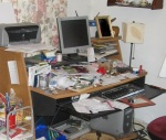 Disorganized Desk.