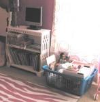 Child's plastic storage bin & book shelf