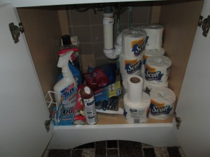 Disorganized stuff under bathroom sink