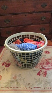 Spring clothes in laundry basket