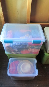 Spring clothes in plastic container