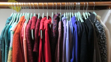 color coded clothes closet