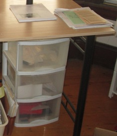 clear container drawers under desk